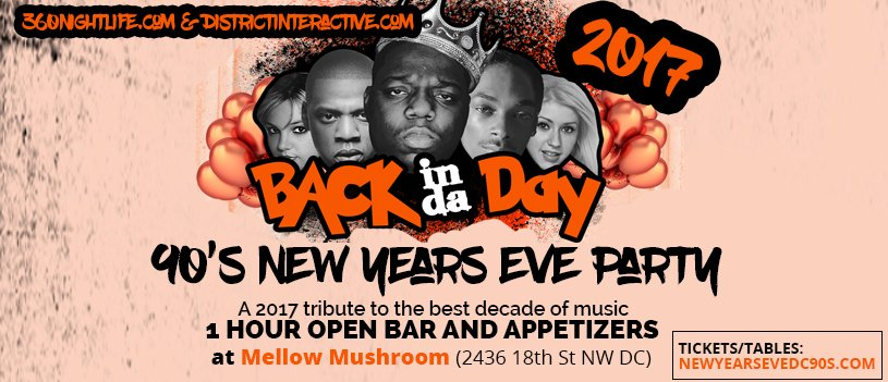 90's Back in the Day New Year's Eve Washington DC at Mellow Mushroom