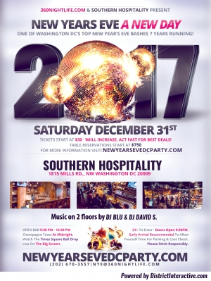 Washington DC New Years Eve at Southern Hospitality - A New Day NYE 2017