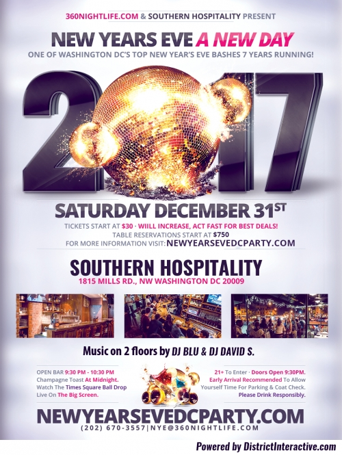 Washington DC New Years Eve at Southern Hospitality - A New Day NYE 2015