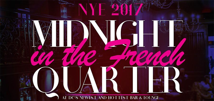 New Year's Eve Washington DC at Vieux Carre 2017